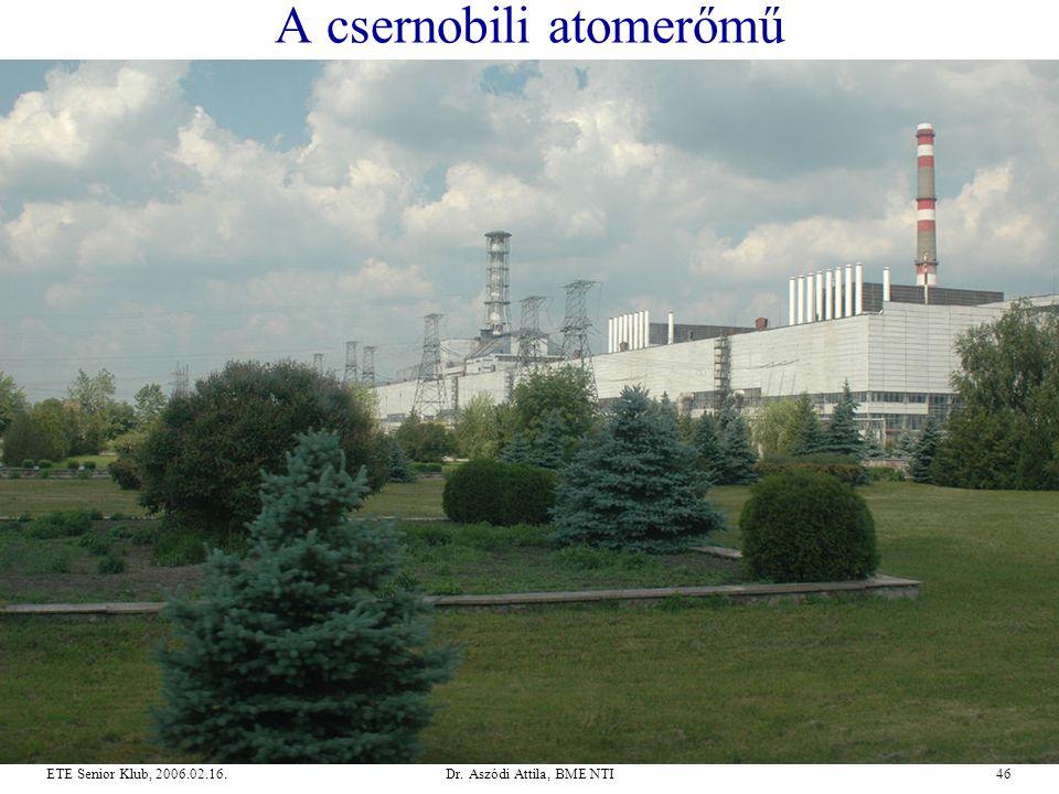 Dr. Aszódi Attila, BME NTI46ETE Senior Klub, 2006.02.16. A csernobili atomerőmű