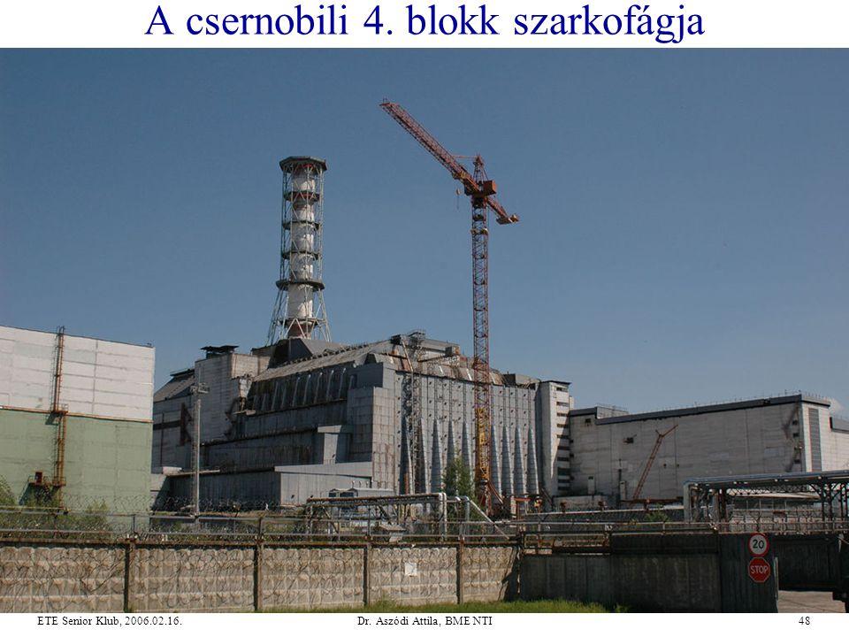Dr. Aszódi Attila, BME NTI48ETE Senior Klub, 2006.02.16. A csernobili 4. blokk szarkofágja