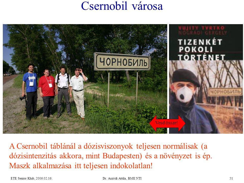 Dr. Aszódi Attila, BME NTI51ETE Senior Klub, 2006.02.16. Csernobil városa A Csernobil táblánál a dózisviszonyok teljesen normálisak (a dózisintenzitás