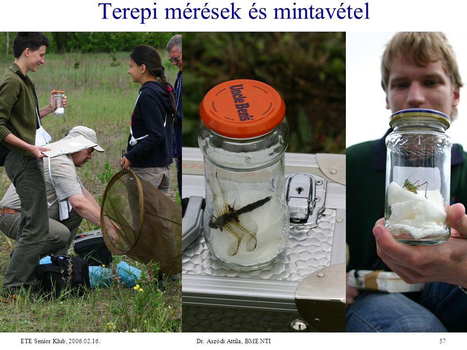 Dr. Aszódi Attila, BME NTI57ETE Senior Klub, 2006.02.16. Terepi mérések és mintavétel