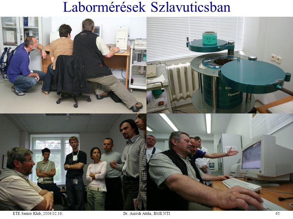Dr. Aszódi Attila, BME NTI65ETE Senior Klub, 2006.02.16. Labormérések Szlavuticsban