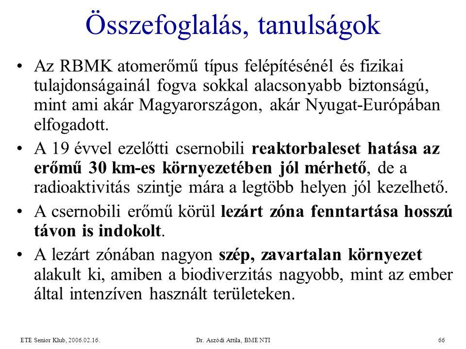 Dr. Aszódi Attila, BME NTI66ETE Senior Klub, 2006.02.16. Összefoglalás, tanulságok •Az RBMK atomerőmű típus felépítésénél és fizikai tulajdonságainál