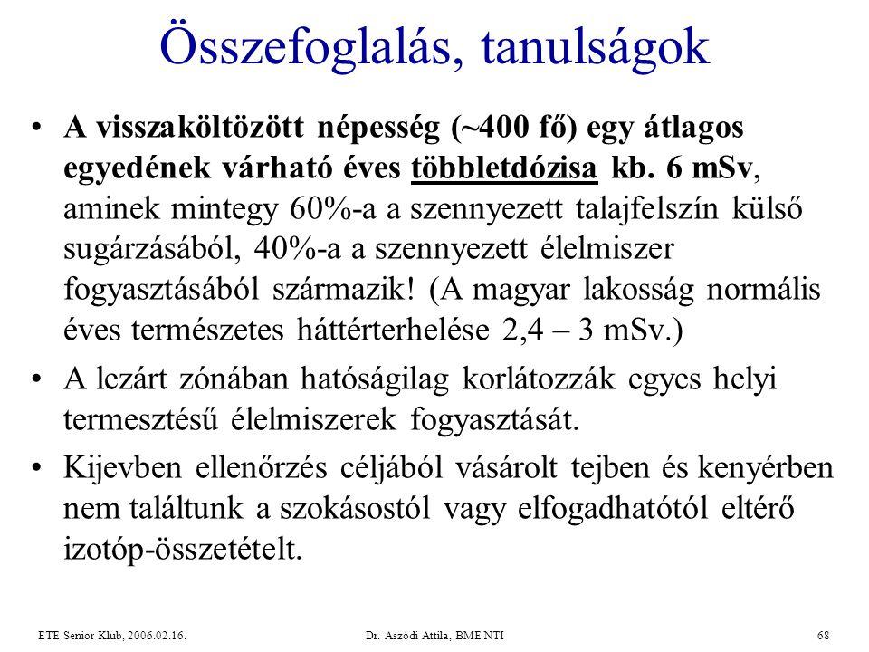 Dr. Aszódi Attila, BME NTI68ETE Senior Klub, 2006.02.16. Összefoglalás, tanulságok •A visszaköltözött népesség (~400 fő) egy átlagos egyedének várható