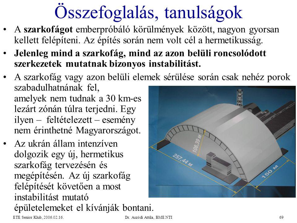 Dr. Aszódi Attila, BME NTI69ETE Senior Klub, 2006.02.16. Összefoglalás, tanulságok •A szarkofágot emberpróbáló körülmények között, nagyon gyorsan kell
