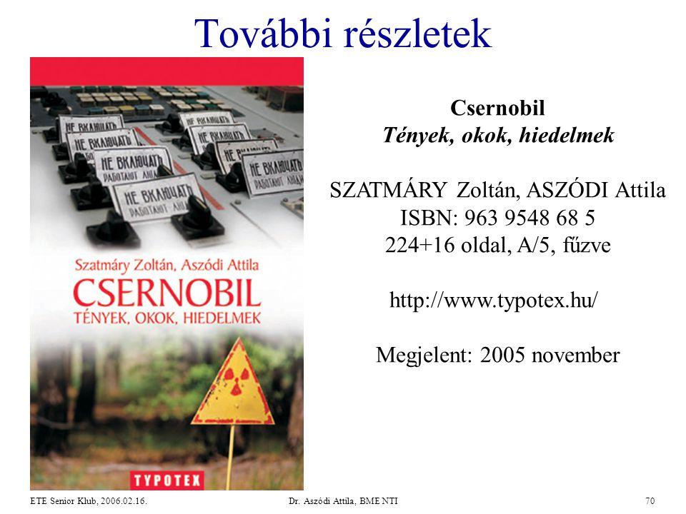 Dr. Aszódi Attila, BME NTI70ETE Senior Klub, 2006.02.16. További részletek Csernobil Tények, okok, hiedelmek SZATMÁRY Zoltán, ASZÓDI Attila ISBN: 963