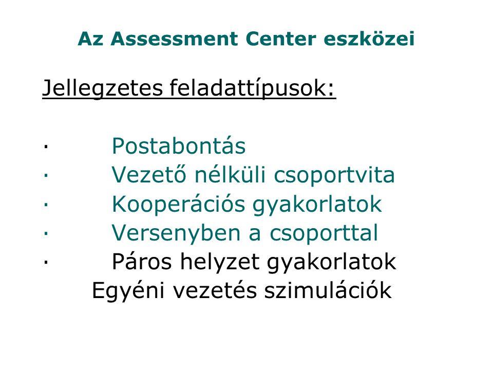 Az Assessment Center eszközei Jellegzetes feladattípusok: · Postabontás · Vezető nélküli csoportvita · Kooperációs gyakorlatok · Versenyben a csoporttal · Páros helyzet gyakorlatok Egyéni vezetés szimulációk