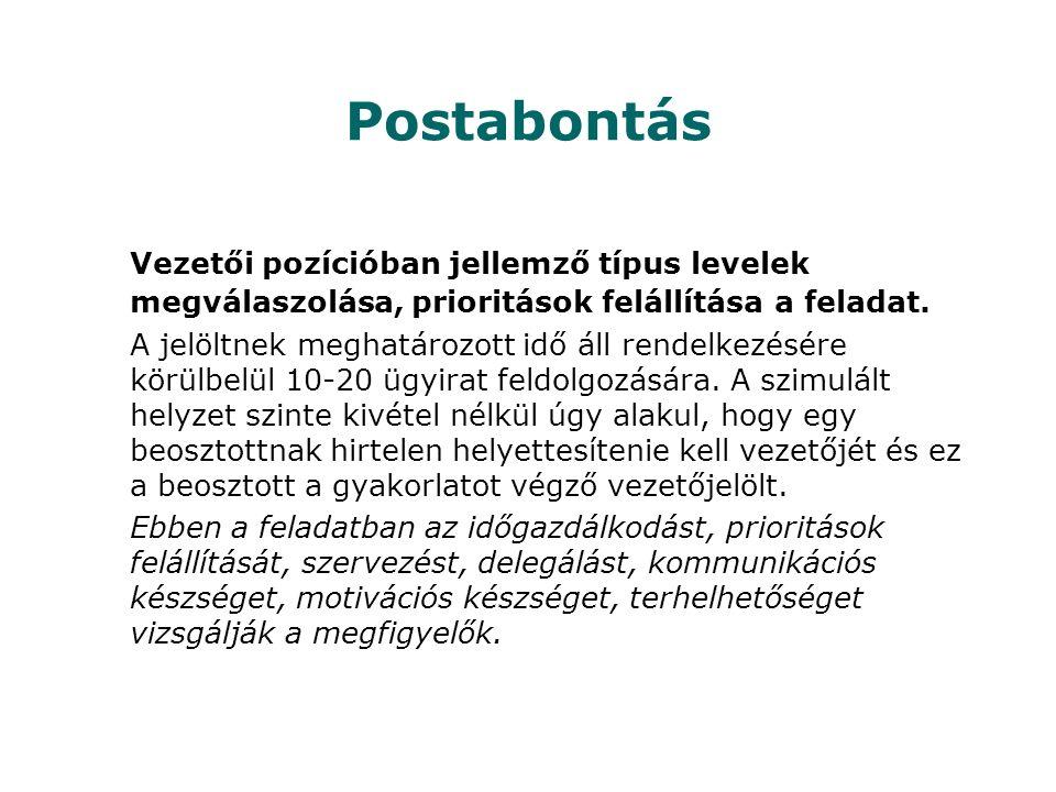 Postabontás Vezetői pozícióban jellemző típus levelek megválaszolása, prioritások felállítása a feladat. A jelöltnek meghatározott idő áll rendelkezés