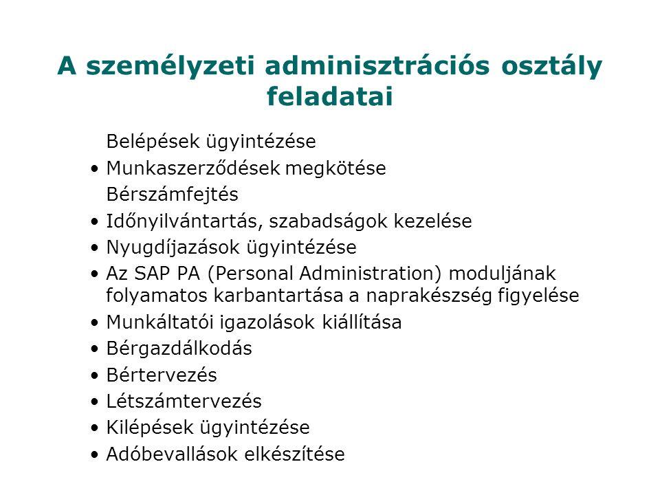 A személyzeti adminisztrációs osztály feladatai Belépések ügyintézése •Munkaszerződések megkötése Bérszámfejtés •Időnyilvántartás, szabadságok kezelése •Nyugdíjazások ügyintézése •Az SAP PA (Personal Administration) moduljának folyamatos karbantartása a naprakészség figyelése •Munkáltatói igazolások kiállítása •Bérgazdálkodás •Bértervezés •Létszámtervezés •Kilépések ügyintézése •Adóbevallások elkészítése