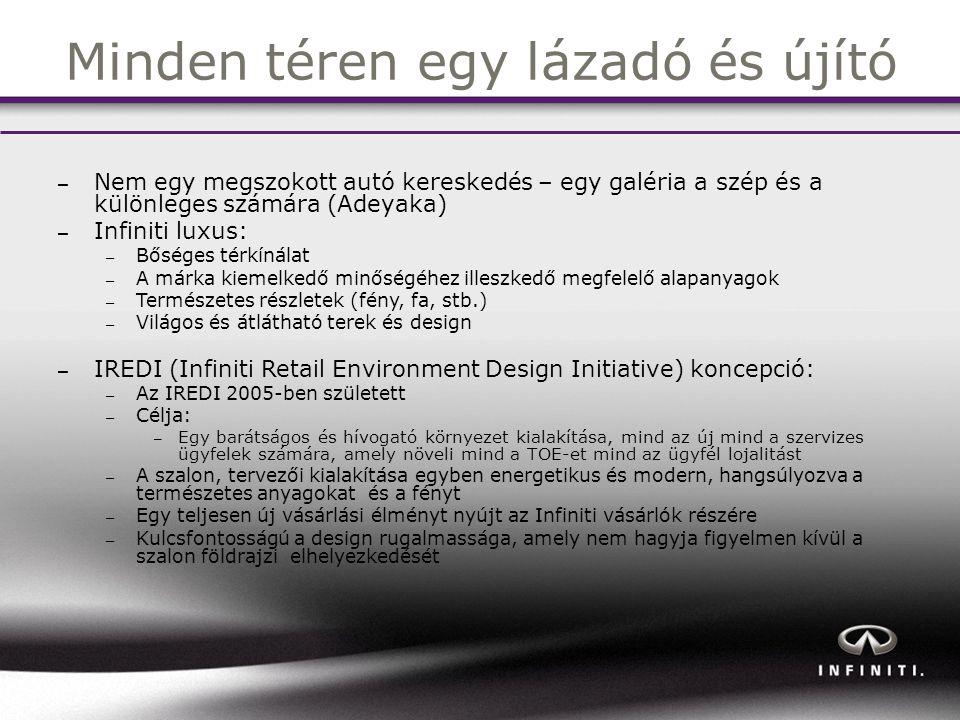 Minden téren egy lázadó és újító – Nem egy megszokott autó kereskedés – egy galéria a szép és a különleges számára (Adeyaka) – Infiniti luxus: – Bőséges térkínálat – A márka kiemelkedő minőségéhez illeszkedő megfelelő alapanyagok – Természetes részletek (fény, fa, stb.) – Világos és átlátható terek és design – IREDI (Infiniti Retail Environment Design Initiative) koncepció: – Az IREDI 2005-ben született – Célja: – Egy barátságos és hívogató környezet kialakítása, mind az új mind a szervizes ügyfelek számára, amely növeli mind a TOE-et mind az ügyfél lojalitást – A szalon, tervezői kialakítása egyben energetikus és modern, hangsúlyozva a természetes anyagokat és a fényt – Egy teljesen új vásárlási élményt nyújt az Infiniti vásárlók részére – Kulcsfontosságú a design rugalmassága, amely nem hagyja figyelmen kívül a szalon földrajzi elhelyezkedését