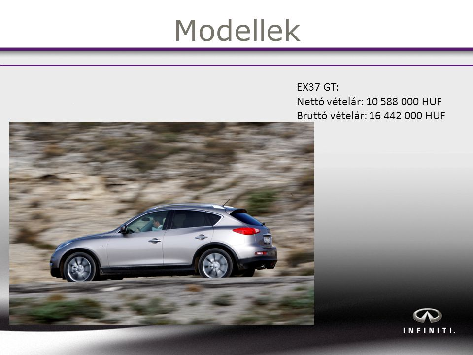 Modellek EX37 GT: Nettó vételár: 10 588 000 HUF Bruttó vételár: 16 442 000 HUF