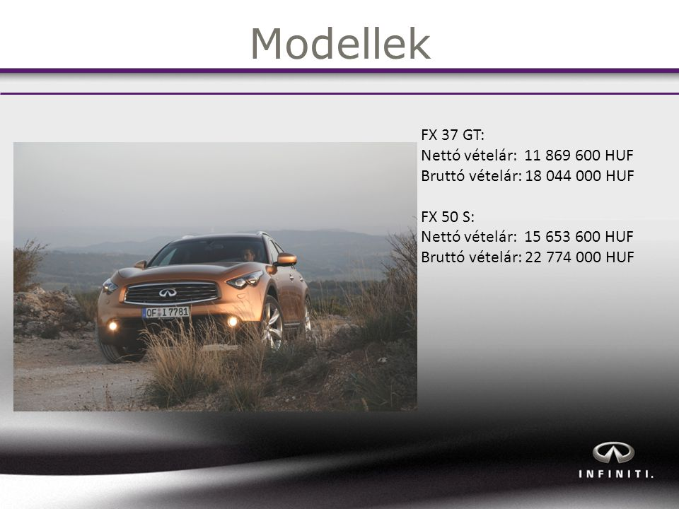Modellek FX 37 GT: Nettó vételár: 11 869 600 HUF Bruttó vételár: 18 044 000 HUF FX 50 S: Nettó vételár: 15 653 600 HUF Bruttó vételár: 22 774 000 HUF