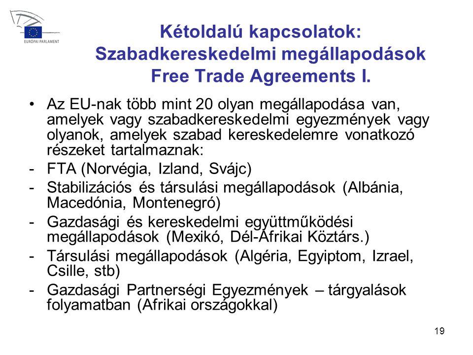 19 Kétoldalú kapcsolatok: Szabadkereskedelmi megállapodások Free Trade Agreements I.