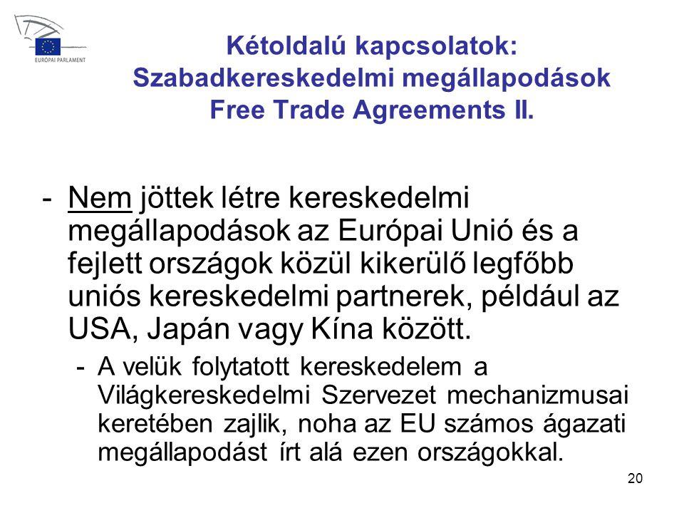 20 Kétoldalú kapcsolatok: Szabadkereskedelmi megállapodások Free Trade Agreements II.