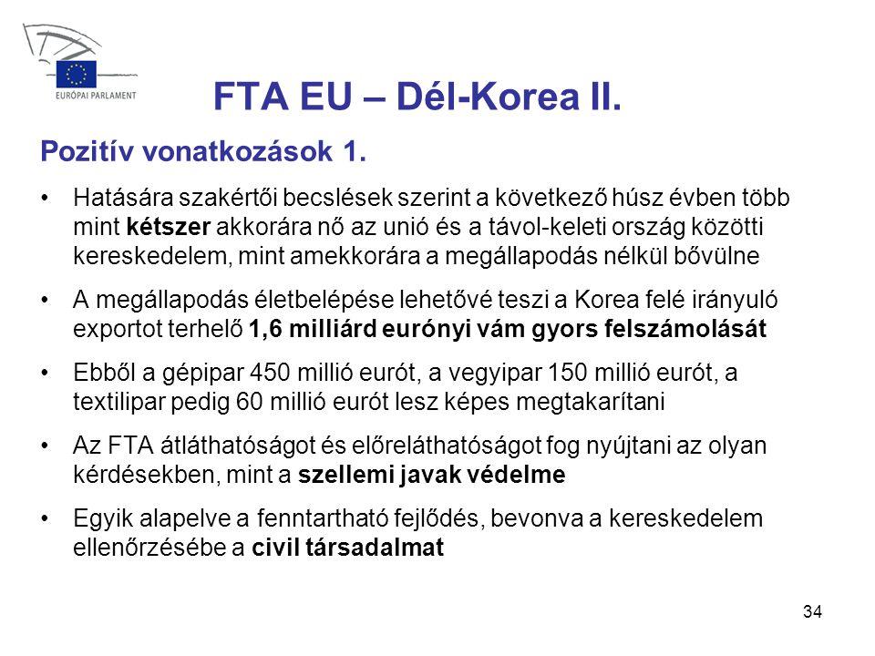 34 FTA EU – Dél-Korea II.Pozitív vonatkozások 1.