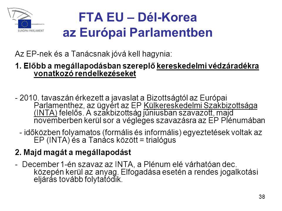 38 FTA EU – Dél-Korea az Európai Parlamentben Az EP-nek és a Tanácsnak jóvá kell hagynia: 1.