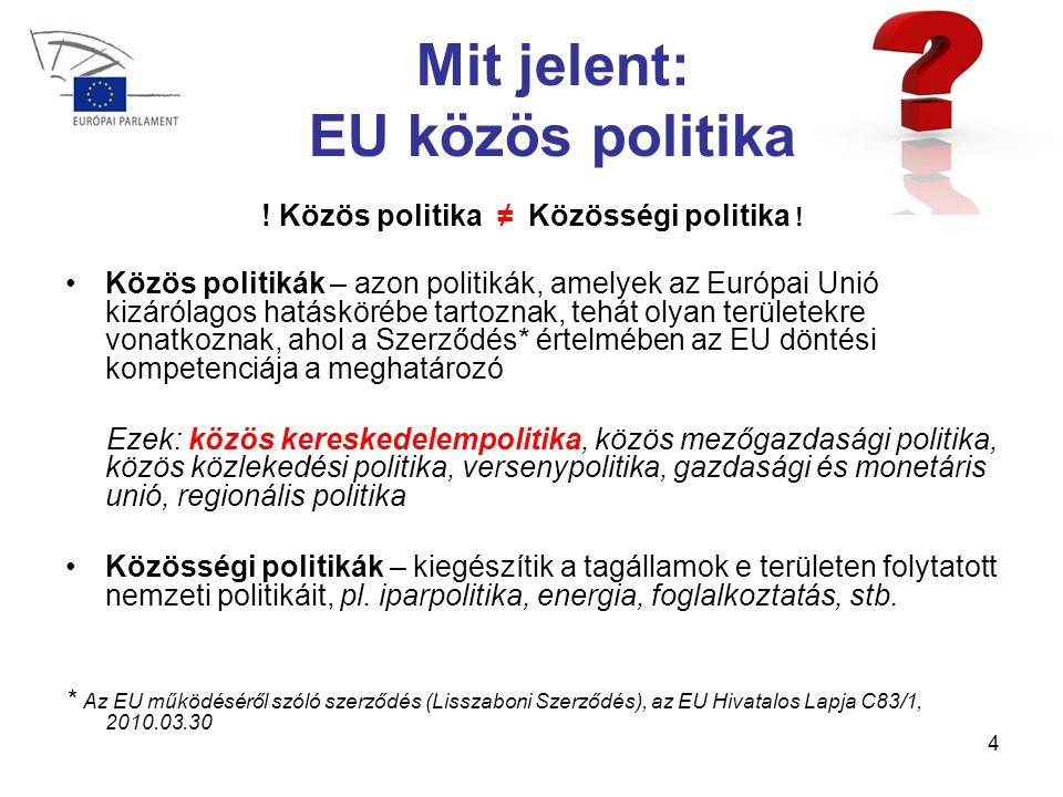 4 Mit jelent: EU közös politika .Közös politika ≠ Közösségi politika .