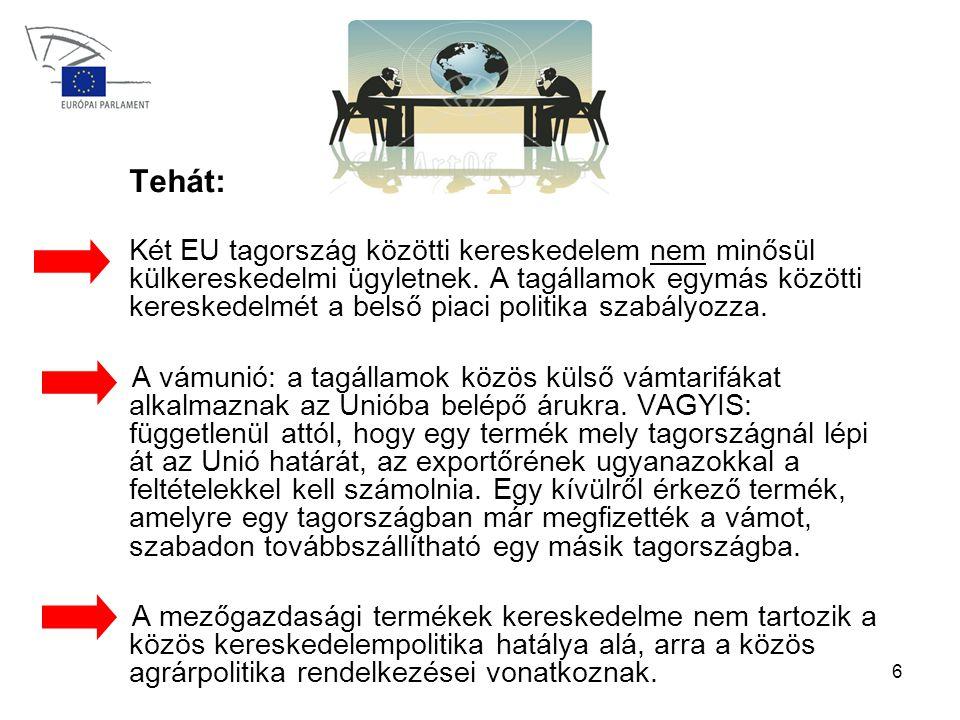 6 Tehát: Két EU tagország közötti kereskedelem nem minősül külkereskedelmi ügyletnek.