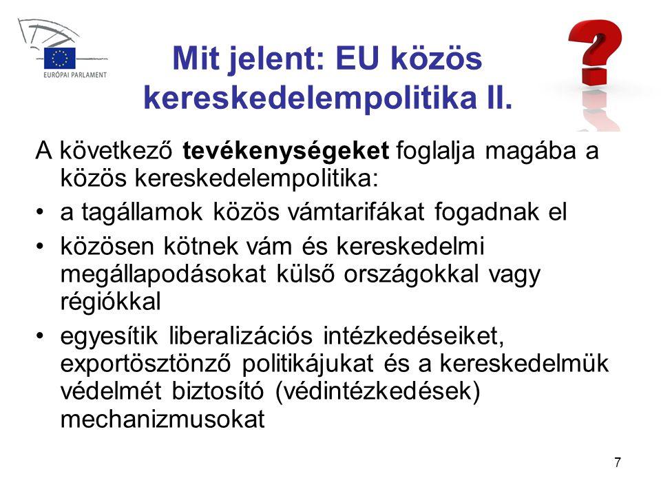 7 Mit jelent: EU közös kereskedelempolitika II.