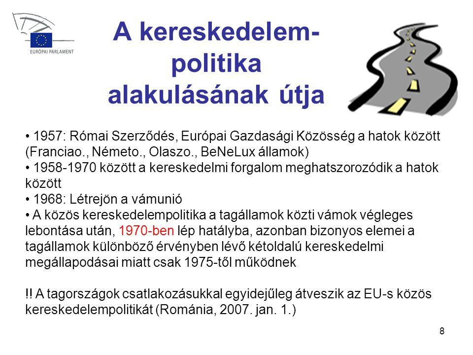 8 A kereskedelem- politika alakulásának útja • 1957: Római Szerződés, Európai Gazdasági Közösség a hatok között (Franciao., Németo., Olaszo., BeNeLux államok) • 1958-1970 között a kereskedelmi forgalom meghatszorozódik a hatok között • 1968: Létrejön a vámunió • A közös kereskedelempolitika a tagállamok közti vámok végleges lebontása után, 1970-ben lép hatályba, azonban bizonyos elemei a tagállamok különböző érvényben lévő kétoldalú kereskedelmi megállapodásai miatt csak 1975-től működnek !.