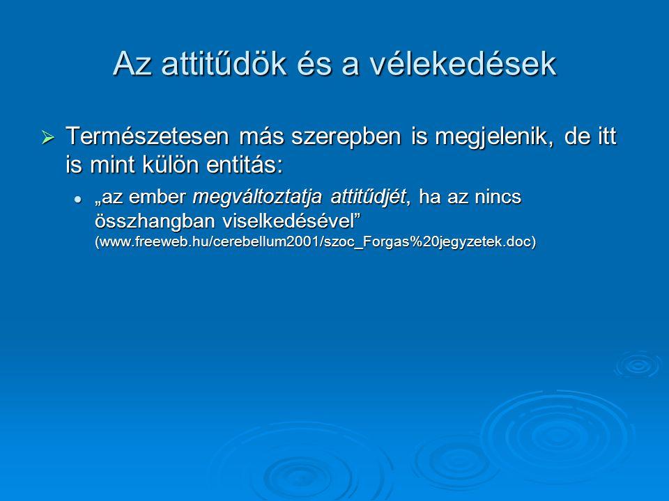 """Az attitűdök és a vélekedések  Természetesen más szerepben is megjelenik, de itt is mint külön entitás:  """"az ember megváltoztatja attitűdjét, ha az nincs összhangban viselkedésével (www.freeweb.hu/cerebellum2001/szoc_Forgas%20jegyzetek.doc)"""