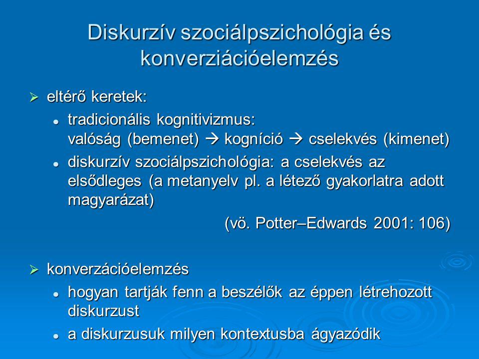 Diskurzív szociálpszichológia és konverziációelemzés  eltérő keretek:  tradicionális kognitivizmus: valóság (bemenet)  kogníció  cselekvés (kimenet)  diskurzív szociálpszichológia: a cselekvés az elsődleges (a metanyelv pl.