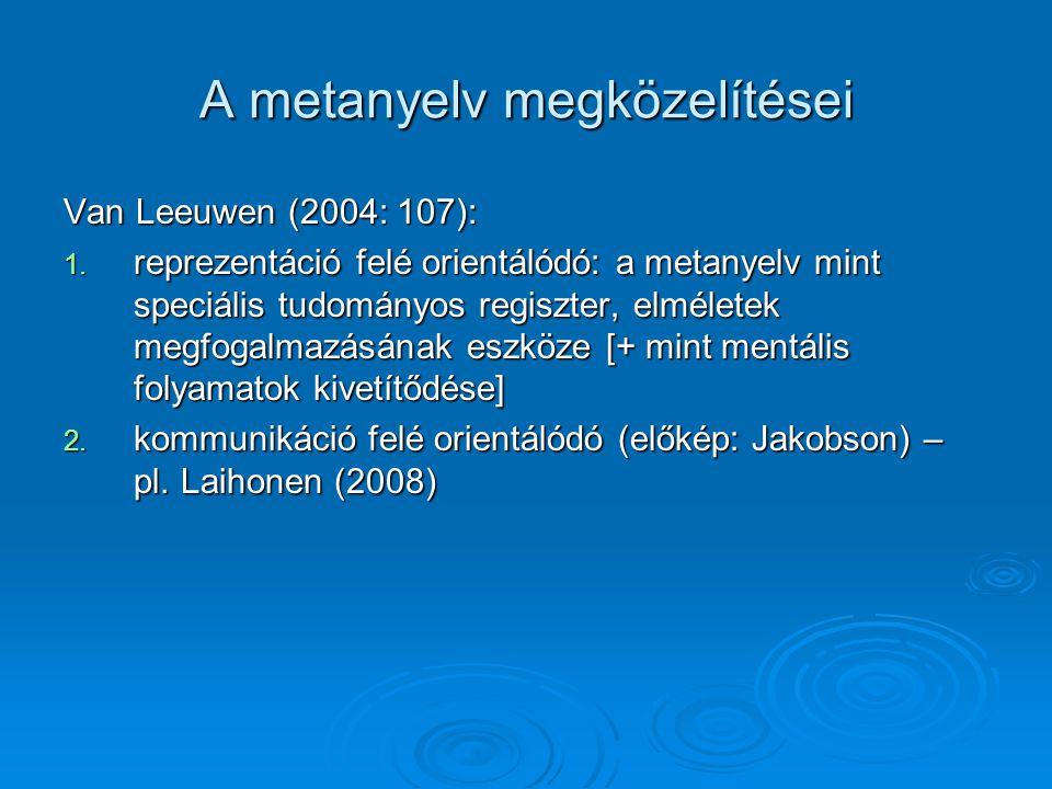 A metanyelv megközelítései Van Leeuwen (2004: 107): 1. reprezentáció felé orientálódó: a metanyelv mint speciális tudományos regiszter, elméletek megf