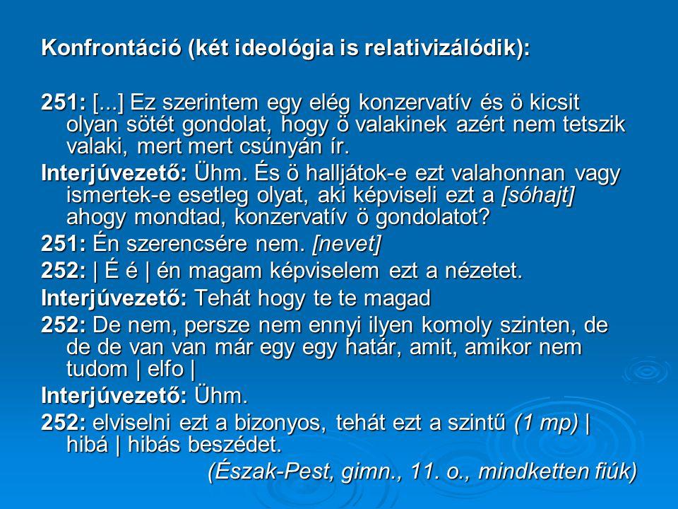 Konfrontáció (két ideológia is relativizálódik): 251: [...] Ez szerintem egy elég konzervatív és ö kicsit olyan sötét gondolat, hogy ö valakinek azért nem tetszik valaki, mert mert csúnyán ír.