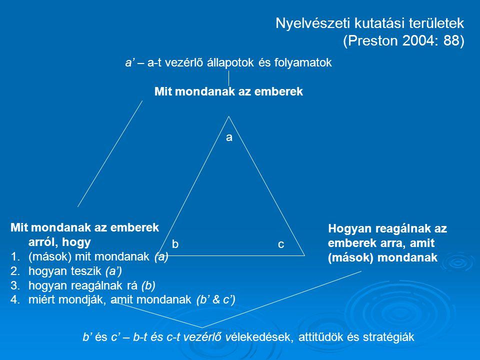 """Metanyelvi diskurzusok MEGHATÁROZÁSA:  Narratívák (miről és hogyan beszél)  Legitimáció (argumentáció)  """"p < 0,01  """"a korpusz elemzése megmutatta, hogy...  """"Arany János is használta [ti."""