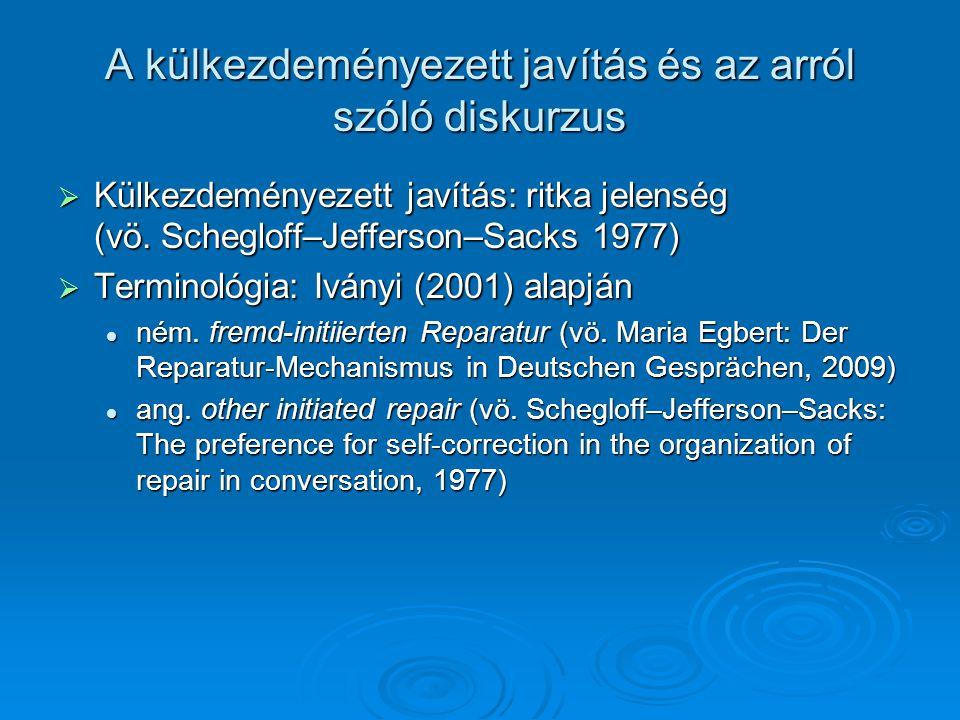 A külkezdeményezett javítás és az arról szóló diskurzus  Külkezdeményezett javítás: ritka jelenség (vö. Schegloff–Jefferson–Sacks 1977)  Terminológi