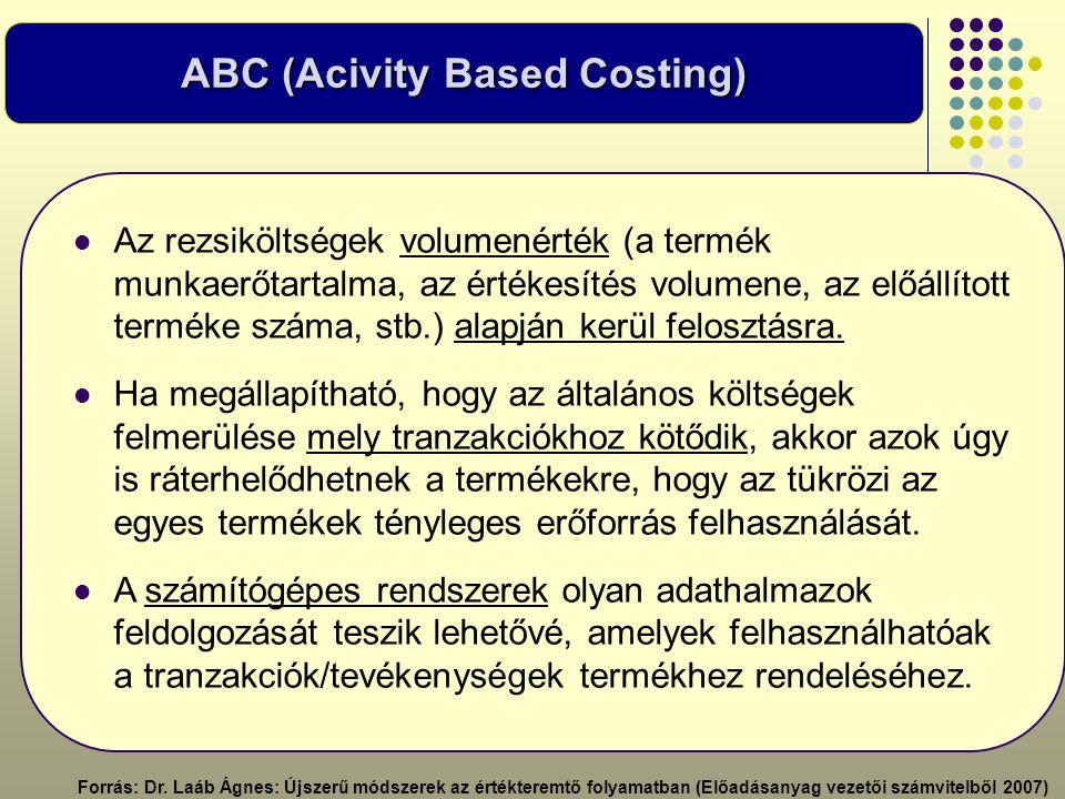 ABC (Acivity Based Costing)  Az rezsiköltségek volumenérték (a termék munkaerőtartalma, az értékesítés volumene, az előállított terméke száma, stb.)