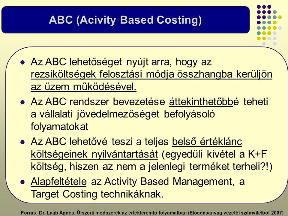 ABC (Acivity Based Costing)  Az ABC lehetőséget nyújt arra, hogy az rezsiköltségek felosztási módja összhangba kerüljön az üzem működésével.  Az ABC