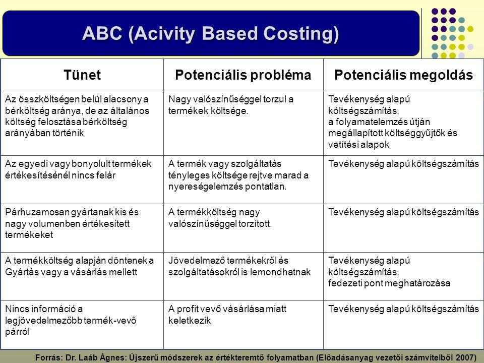 ABC (Acivity Based Costing) Nincs információ a legjövedelmezőbb termék-vevő párról TünetPotenciális problémaPotenciális megoldás Az összköltségen belü