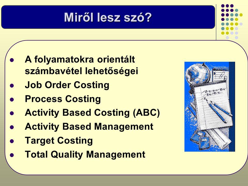 Miről lesz szó?  A folyamatokra orientált számbavétel lehetőségei  Job Order Costing  Process Costing  Activity Based Costing (ABC)  Activity Bas
