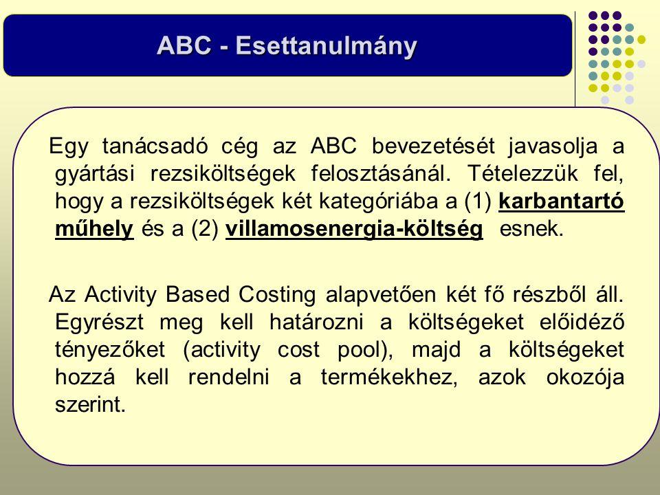 Egy tanácsadó cég az ABC bevezetését javasolja a gyártási rezsiköltségek felosztásánál. Tételezzük fel, hogy a rezsiköltségek két kategóriába a (1) ka