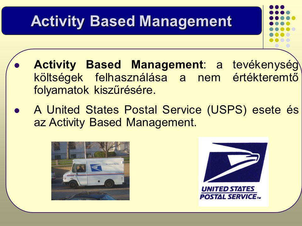 Activity Based Management  Activity Based Management: a tevékenység költségek felhasználása a nem értékteremtő folyamatok kiszűrésére.  A United Sta