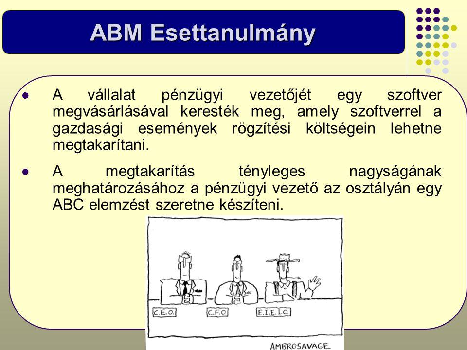 ABM Esettanulmány  A vállalat pénzügyi vezetőjét egy szoftver megvásárlásával keresték meg, amely szoftverrel a gazdasági események rögzítési költség