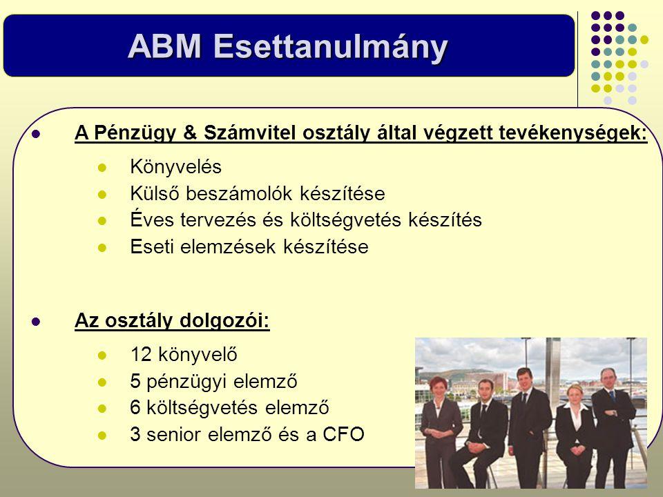 ABM Esettanulmány  A Pénzügy & Számvitel osztály által végzett tevékenységek:  Könyvelés  Külső beszámolók készítése  Éves tervezés és költségveté