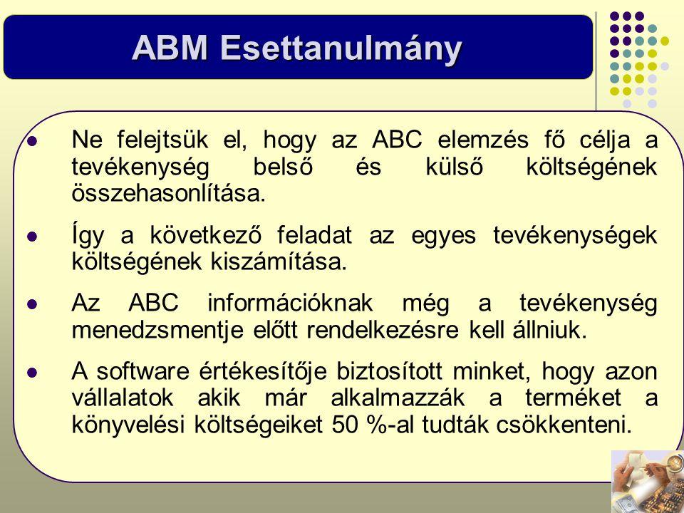ABM Esettanulmány  Ne felejtsük el, hogy az ABC elemzés fő célja a tevékenység belső és külső költségének összehasonlítása.  Így a következő feladat