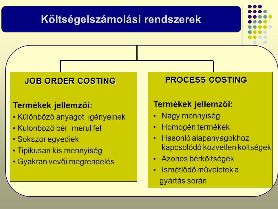 Költségelszámolási rendszerek JOB ORDER COSTING JOB ORDER COSTING Termékek jellemzői: • Különböző anyagot igényelnek • Különböző bér merül fel • Soksz