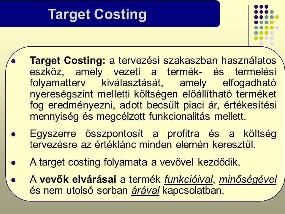 Target Costing  Target Costing: a tervezési szakaszban használatos eszköz, amely vezeti a termék- és termelési folyamatterv kiválasztását, amely elfo
