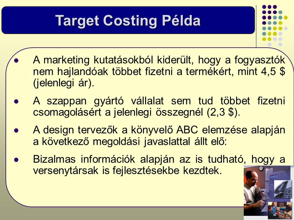Target Costing Példa  A marketing kutatásokból kiderült, hogy a fogyasztók nem hajlandóak többet fizetni a termékért, mint 4,5 $ (jelenlegi ár).  A