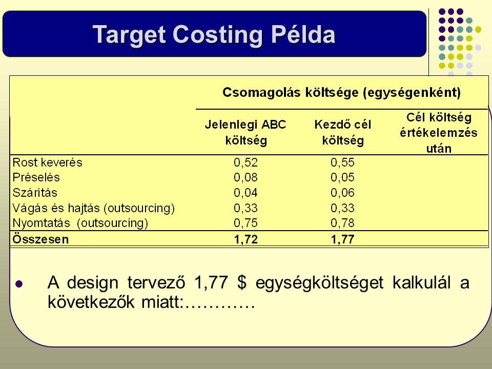 Target Costing Példa  A design tervező 1,77 $ egységköltséget kalkulál a következők miatt:…………