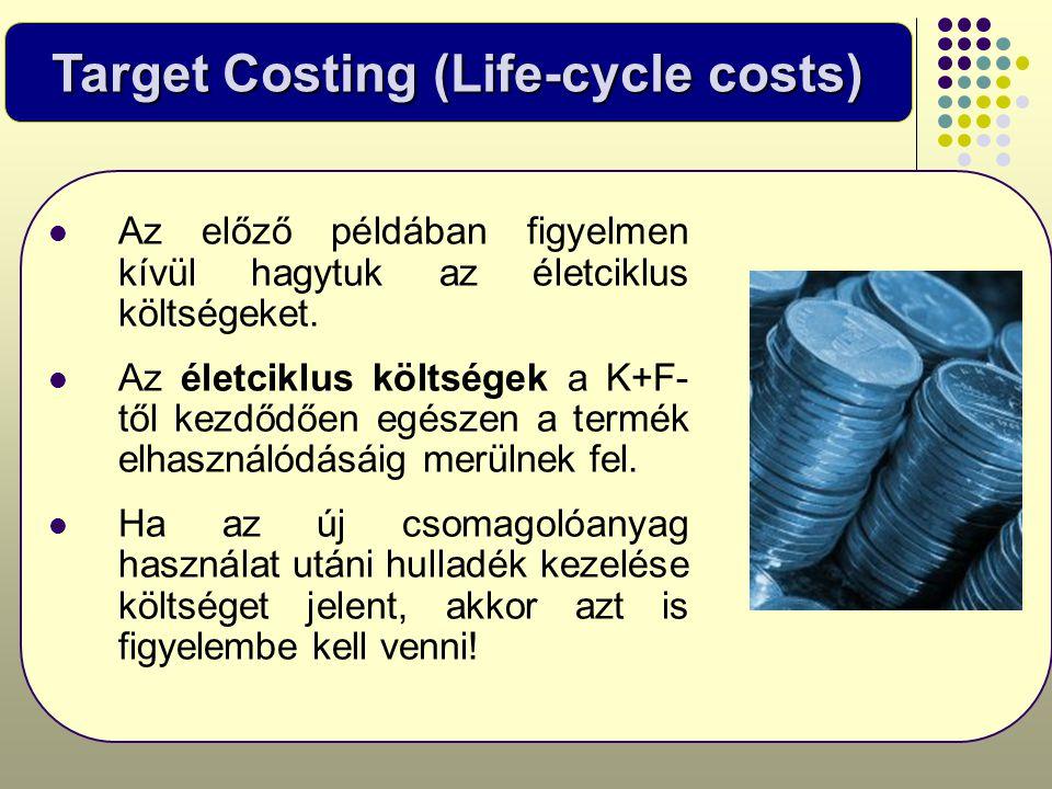 Target Costing (Life-cycle costs)  Az előző példában figyelmen kívül hagytuk az életciklus költségeket.  Az életciklus költségek a K+F- től kezdődőe