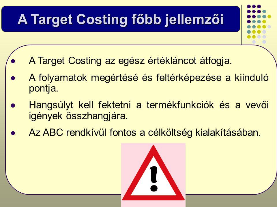 A Target Costing főbb jellemzői  A Target Costing az egész értékláncot átfogja.  A folyamatok megértésé és feltérképezése a kiinduló pontja.  Hangs