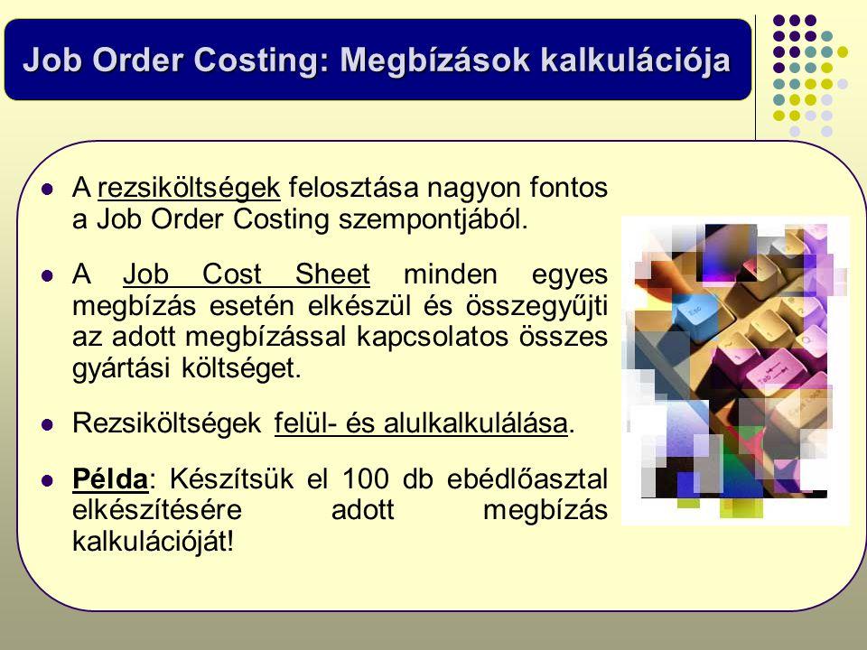 Job Order Costing: Megbízások kalkulációja  A rezsiköltségek felosztása nagyon fontos a Job Order Costing szempontjából.  A Job Cost Sheet minden eg