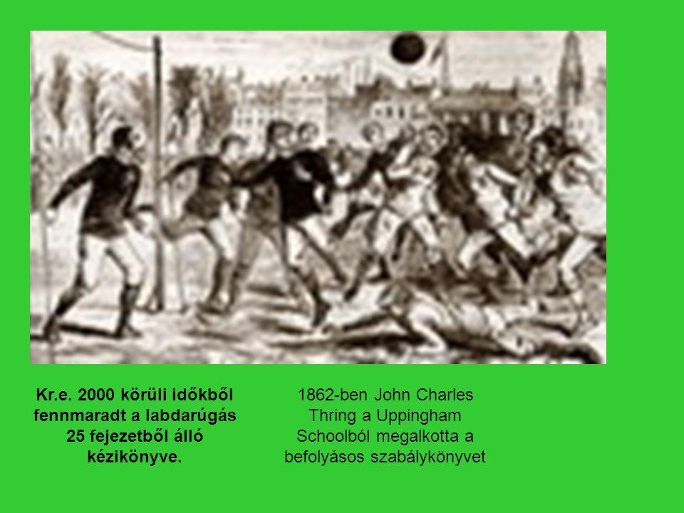 Kr.e. 2000 körüli időkből fennmaradt a labdarúgás 25 fejezetből álló kézikönyve. 1862-ben John Charles Thring a Uppingham Schoolból megalkotta a befol