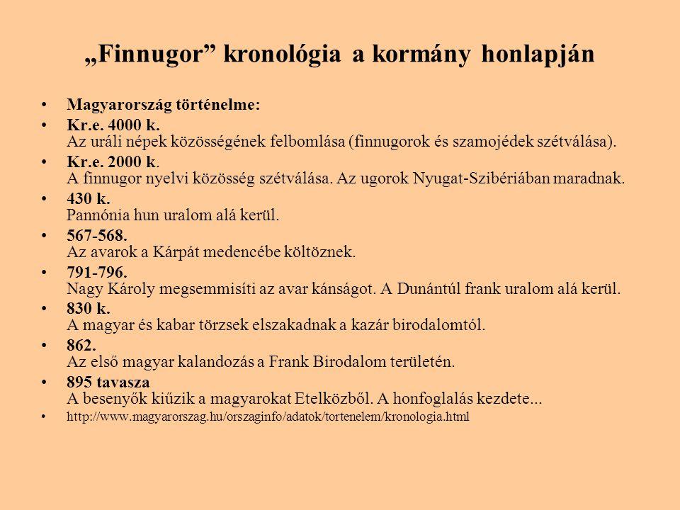 """""""Finnugor"""" kronológia a kormány honlapján •Magyarország történelme: •Kr.e. 4000 k. Az uráli népek közösségének felbomlása (finnugorok és szamojédek sz"""