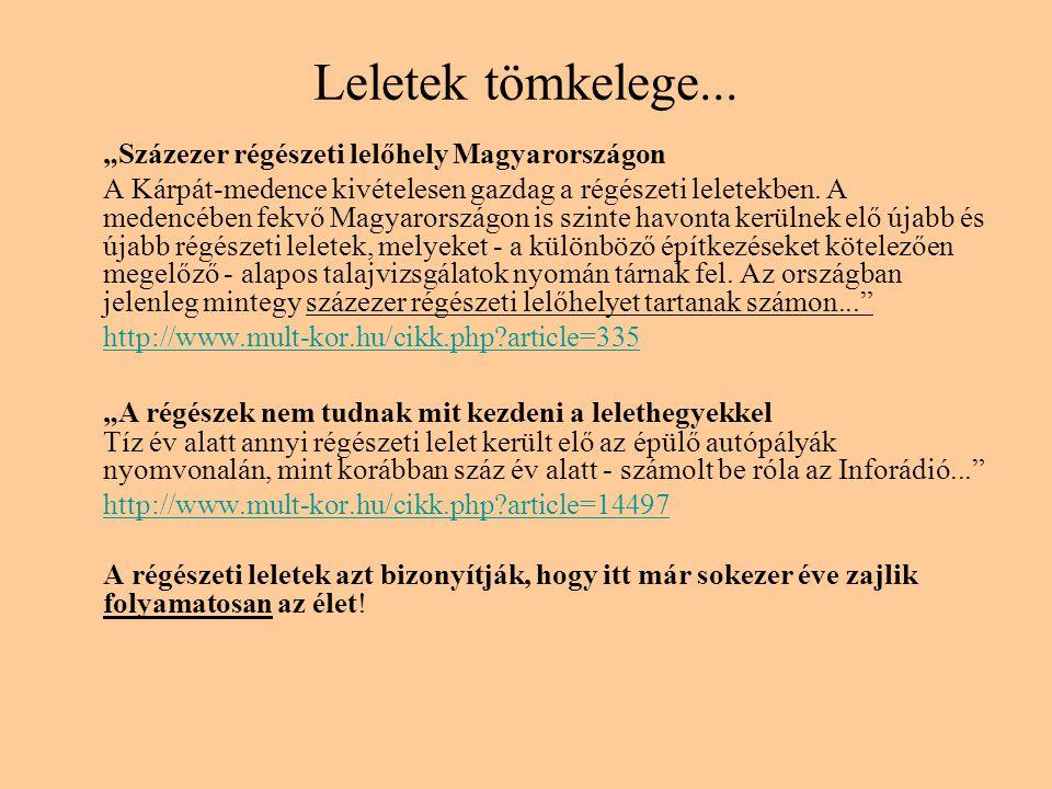 """Leletek tömkelege... """"Százezer régészeti lelőhely Magyarországon A Kárpát-medence kivételesen gazdag a régészeti leletekben. A medencében fekvő Magyar"""