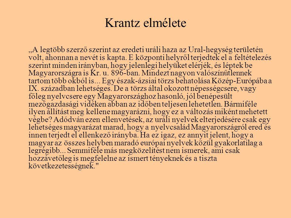 """Krantz elmélete """"A legtöbb szerző szerint az eredeti uráli haza az Ural-hegység területén volt, ahonnan a nevét is kapta. E központi helyről terjedtek"""