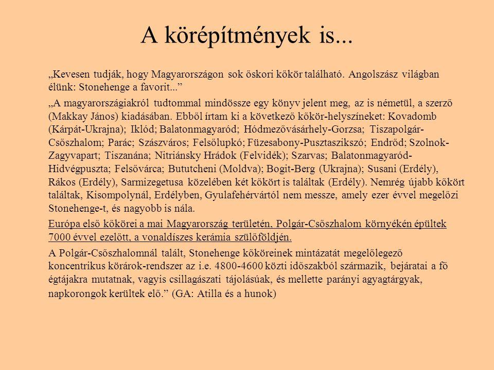 """A körépítmények is... """"Kevesen tudják, hogy Magyarországon sok őskori kőkör található. Angolszász világban élünk: Stonehenge a favorit..."""" """"A magyaror"""